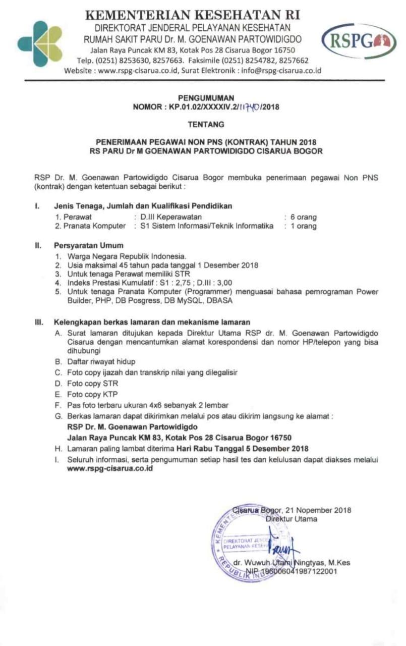 Penerimaan Pegawai Non Pns Rs Paru Dr M Goenawan
