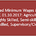 Revised Minimum Wages & VDA w.e.f. 01.10.2017: Agriculture - Highly Skilled, Semi-skilled, Unskilled, Supervisory/Clerical