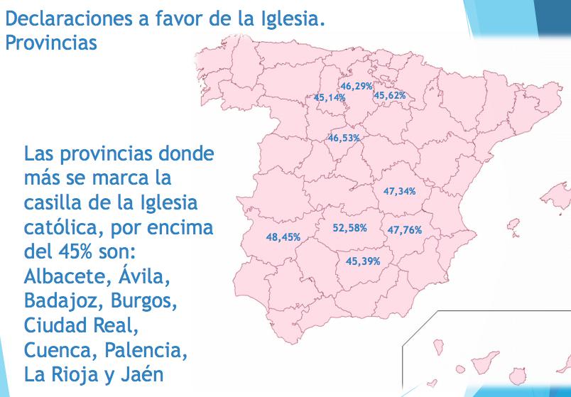 mapa aportación iglesia por provincias