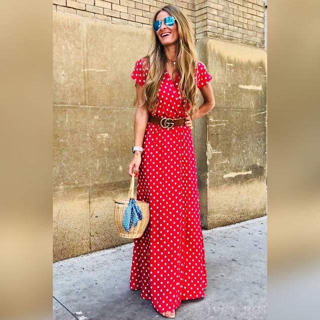 Κοντομάνικο μάξι κόκκινο φόρεμα ANGELIA
