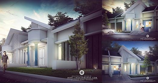 Rumah minimalis satu lantai dengan aksen atap serong  1000 Inspirasi Desain Arsitektur