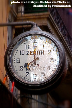 'Timeless' vintage Zenith Clock Sign in the Carrer de l'Espaseria, Barcelona Spain
