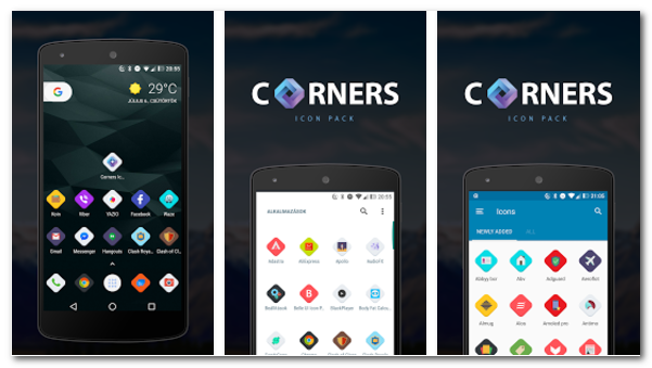 Corners HD icon pack Apk - Andro Ricky