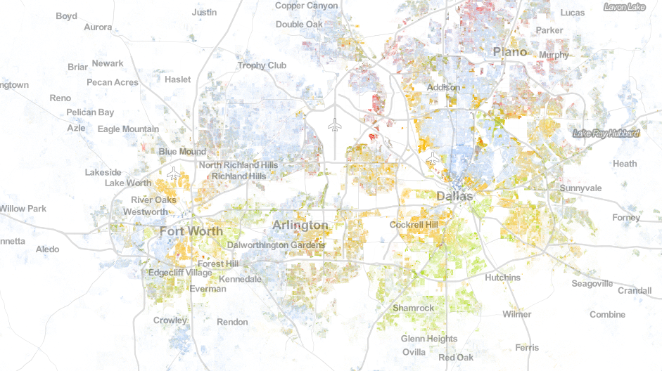 Cbs experimenting with dot maps us population dot density map library online lounge tarleton libraries the racial dot map dot map gumiabroncs Images