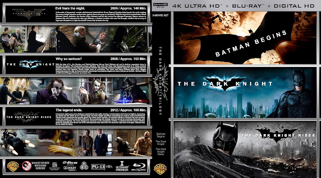 The Dark Knight Trilogy 4k Bluray Cover