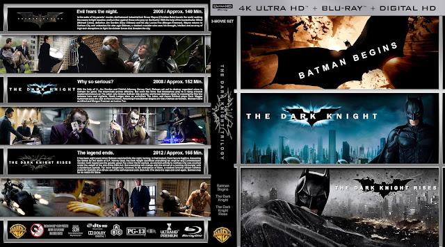 The Dark Knight Trilogy 4k Bluray Cover