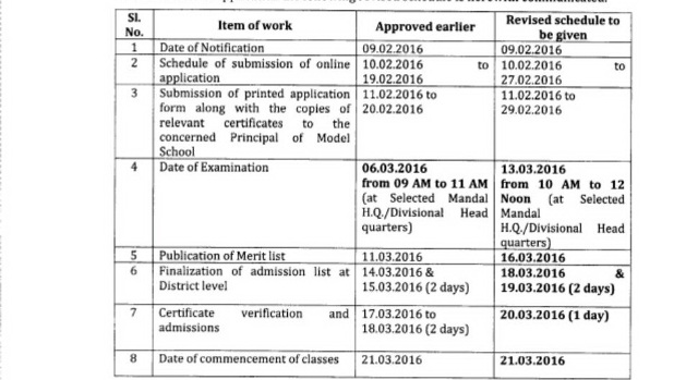 Telangana Model School Admissions 2016 | TSMS Entrance Test and Admissions Schedule | Revised Schedule for TS Model Schools Admissions in Telangana State | Conduct of Admissions Test for admissions into VI class in TS Model Schools during 2016-17 Academic Year-issuing revised schedule programme http://www.tsteachers.in/2016/02/tsms-telangana-model-school-entrance-test-admissions-revised-schedule.html