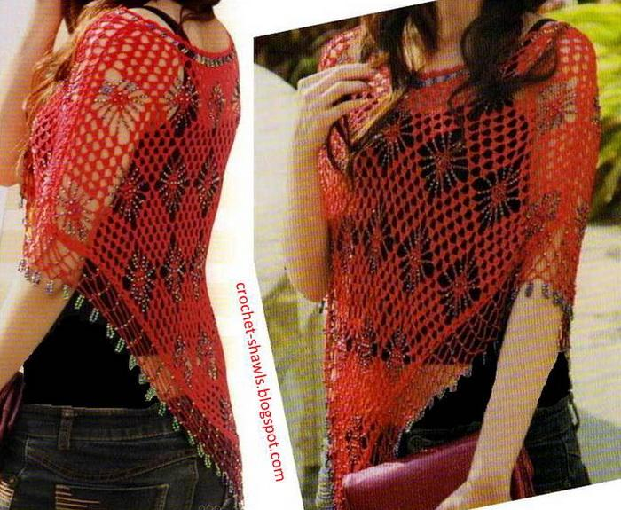 red crochet Poncho with crystal beads for women