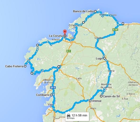 Mapa de lugares turisticos de Galicia