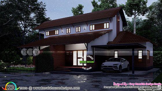 Night view of 4 bedroom Kerala tharavadu house rendering