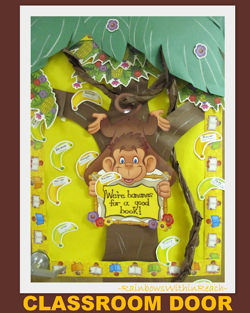 photo of: Monkey theme Classroom door decoration, zoo bulletin board, jungle reading decoration