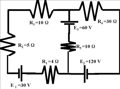 Voltage Loops and Current Nodes Electric Circuit Diagram