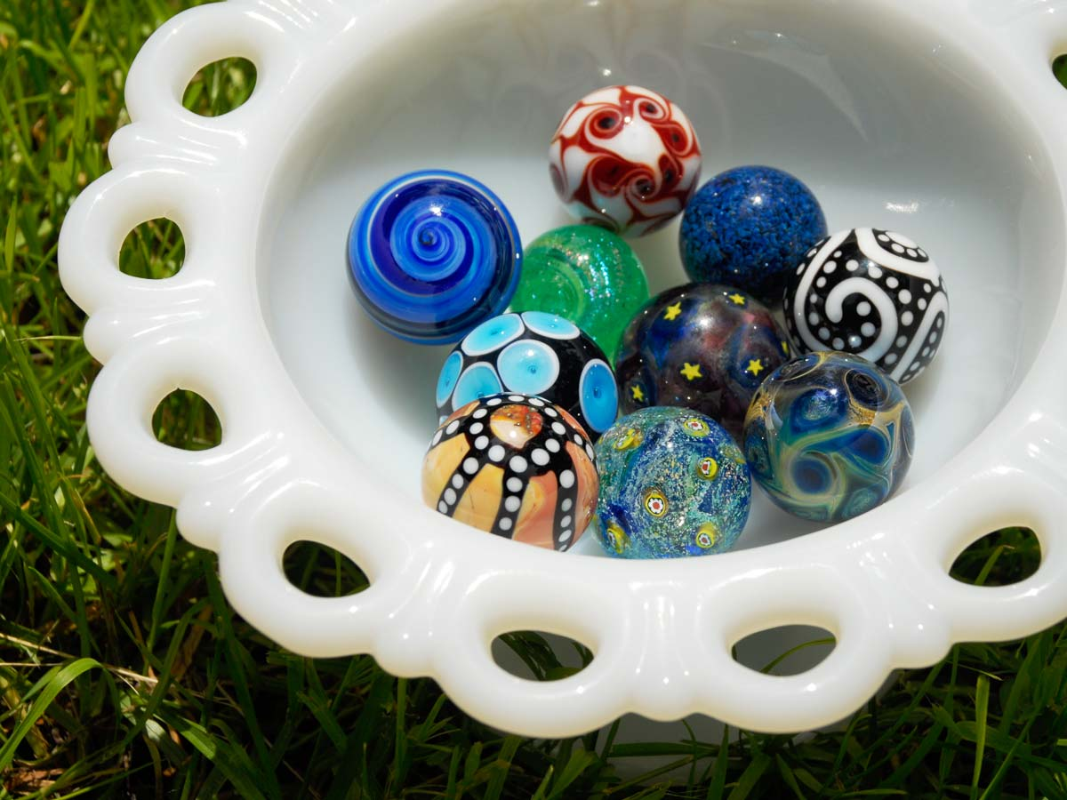 contemporary glass marbles by Joe Holford and Frank Scott lampwork