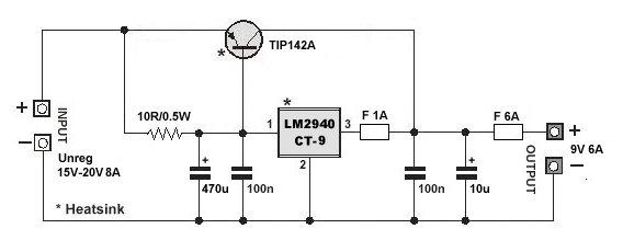 9V 6A Low Dropout Voltage Regulator