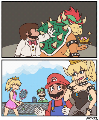 The peachification of Bowser to Bowsette, as illustrated by Ayyk92