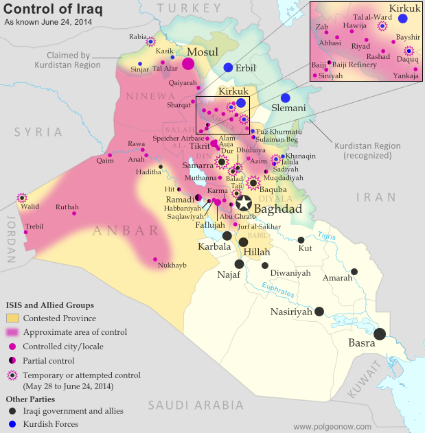 Detailed map of territorial control in Iraq in June 2014, including cities and countryside held by the Islamic State of Iraq and al-Sham (ISIS, ISIL) and the Kurdistan Peshmerga.