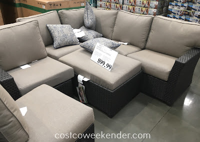 Lounge around outside when it's warm out with the Pacific Casual 7pc Woven Sectional