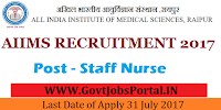 All India Institute of Medical Sciences Recruitment 2017– 475 Nursing Sisters& Staff Nurse