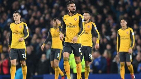 Arsenal thua 1-2 trước Everton