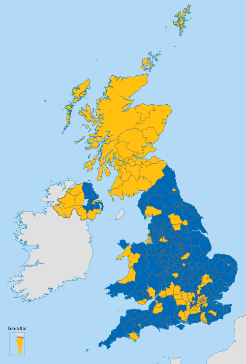 Map Uk Districts Gold: Districts with over 50% for Remain Blue: Districts with over 50% for Leave Map from Wikimedia Commons (click for more info) Map Uk Districts