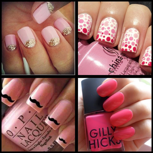 nail art; nail art rosa; nail art de bolinha; nail art de bigode; nail art rosa e dourado