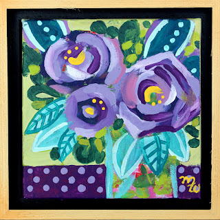 Original joy-filled floral mini painting by Pennsylvania artist Merrill Weber 25 Days of Minis