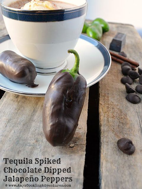 Tequila Spiked Chocolate Dipped Jalapeños by Amy's Cooking Adventures