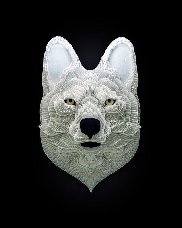 Patrick Cabral behance arte animais papel cortado espécies ameaçadas extinção wwf Cão-selvagem-asiático