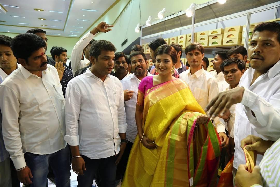 Heebah Patel Stills In Traditional Blue Sari At VRK Silks Exhibition launch