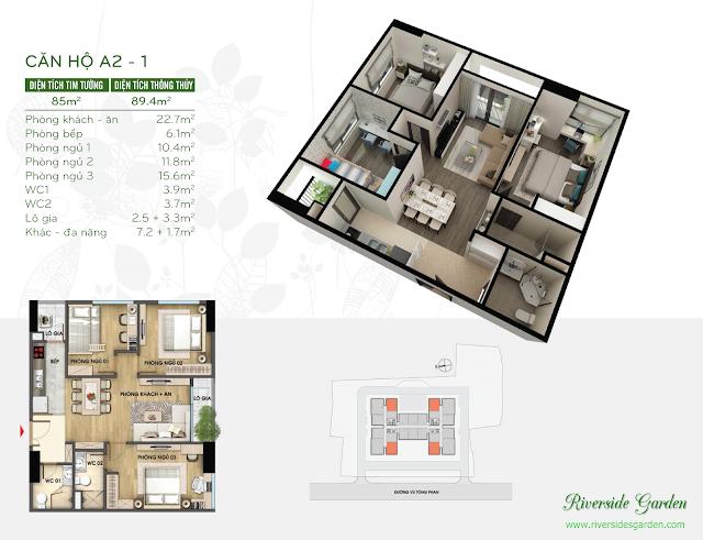Thiết kế căn hộ 89m2 chung cư Riverside Vũ Tông Phan