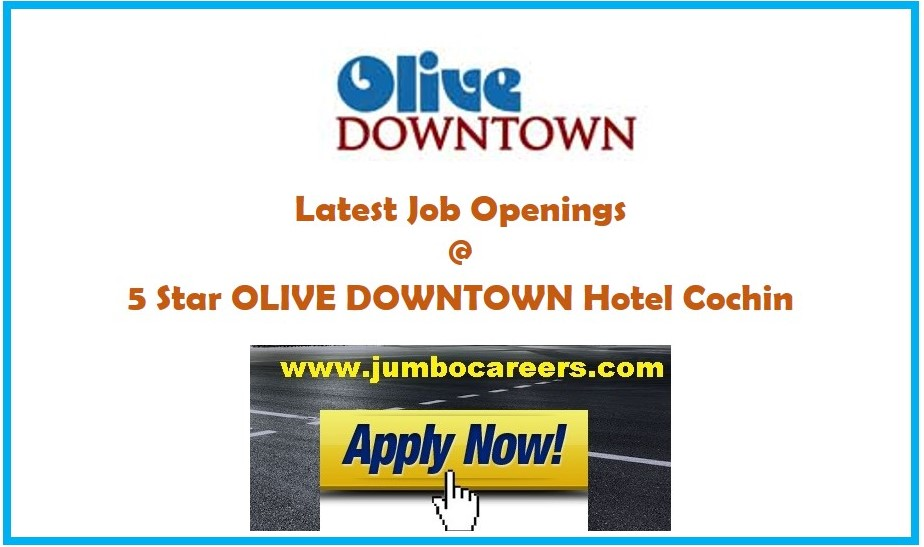 latest job openings at 5 star olive downtown hotel kochi