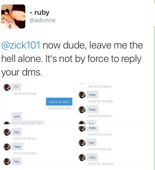 Girl exposes guy bombarding her with DMs on Twitter