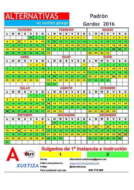 Padrón. Calendario gardas 2016