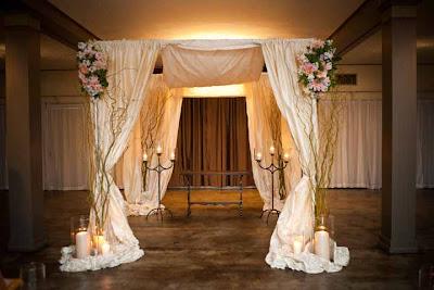 chuppah flowers, ceremony decor, silk draped chuppah, Flora Nova Design