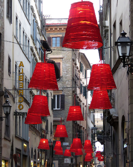Red lanterns, Christmas decorations, via del Corso, Florence