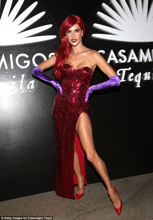 Alessandra Ambrosio is a sexy Jessica Rabbit for Halloween
