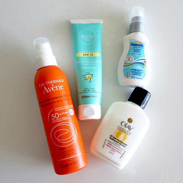 A round-up of beauty-blogger approved sunscreens from Avene, Coppertone, Olay and Rocky Mountain Soap Co