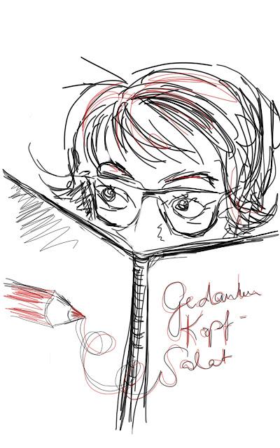 Gezeichnetes Selbstportrait der Blog-Autorin mit Buch vor dem Gesicht.
