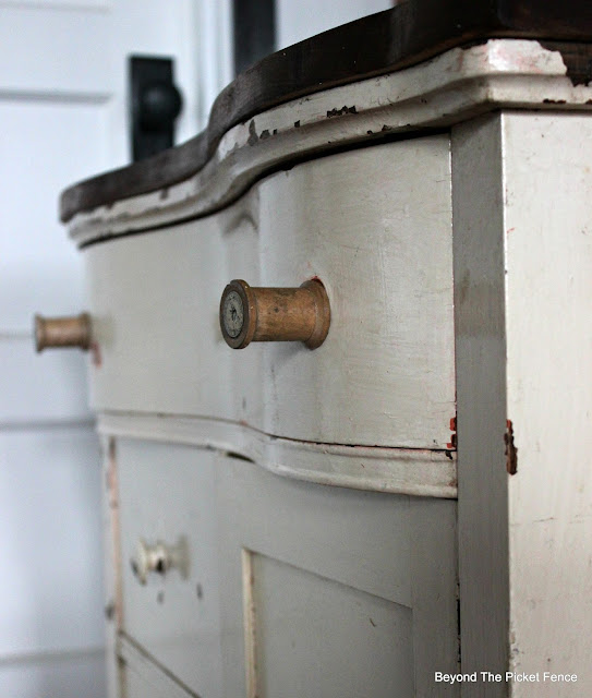 wood spools, old dresser, commode, small chest of drawers, http://bec4-beyondthepicketfence.blogspot.com/2016/03/charming-commode.html