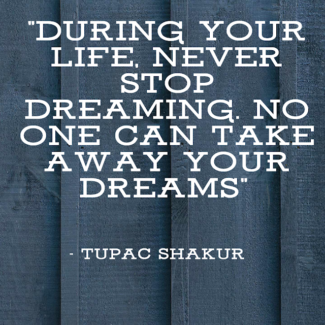 During your life, never stop dreaming. No one can take away your dreams. - tupac Shakur