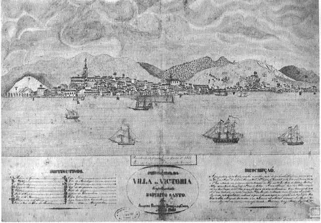 Perspectiva de Vitória em 1805. Mapoteca do Serviço Geográfico do Exército [in Oliveira, José Teixeira de, História do Estado do Espírito Santo, p. 257].