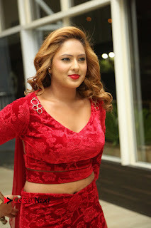 Actress Nikesha Patel Pictures in Red Dress at Araku Road Lo Audio Launch  0090