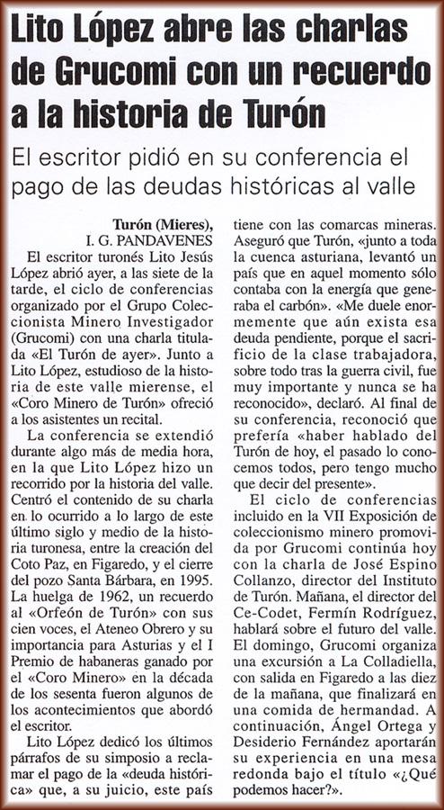 Charla de Lito, historia de Turón