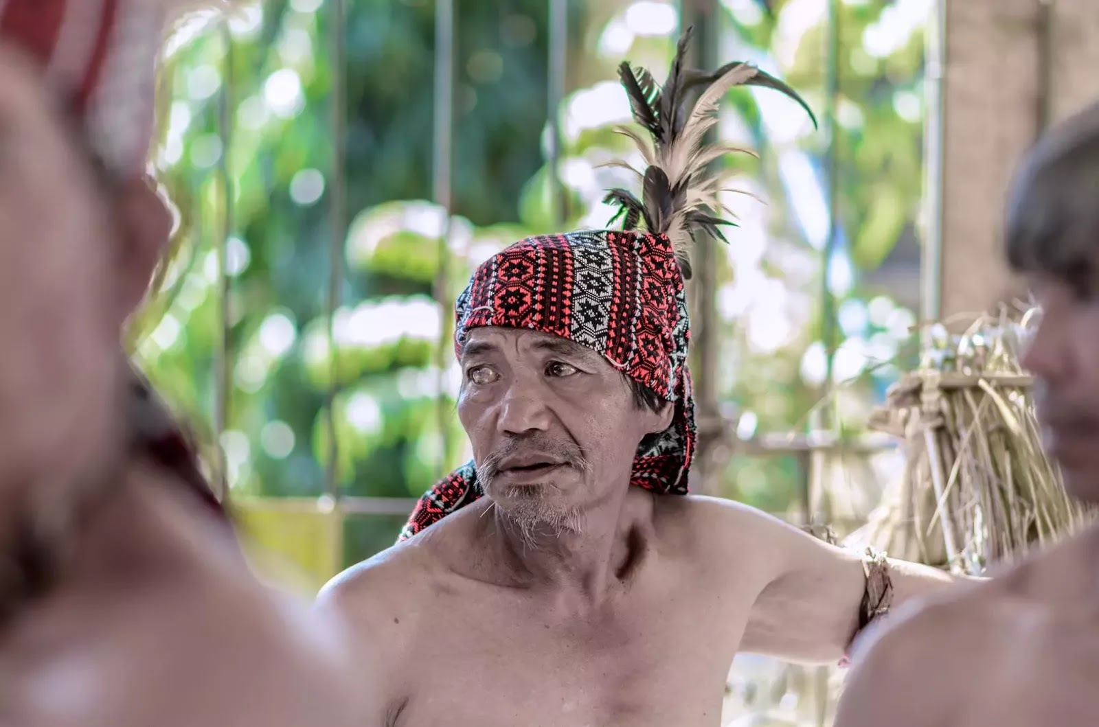 Ethno Indigenous Man Cloth Headgear with Feathers Portrait Head Gear