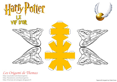 template vif d'Or en papercraft origami