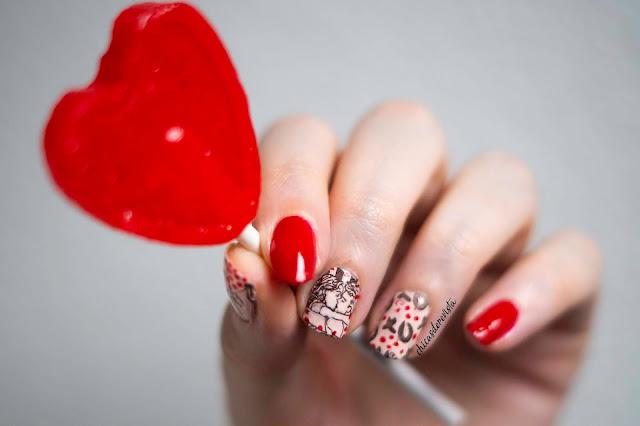 nail art st Valentin facile