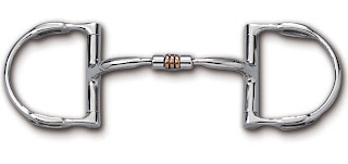 Myler dee with hooks with stainless steel comfort snaffle with copper roller MB 03
