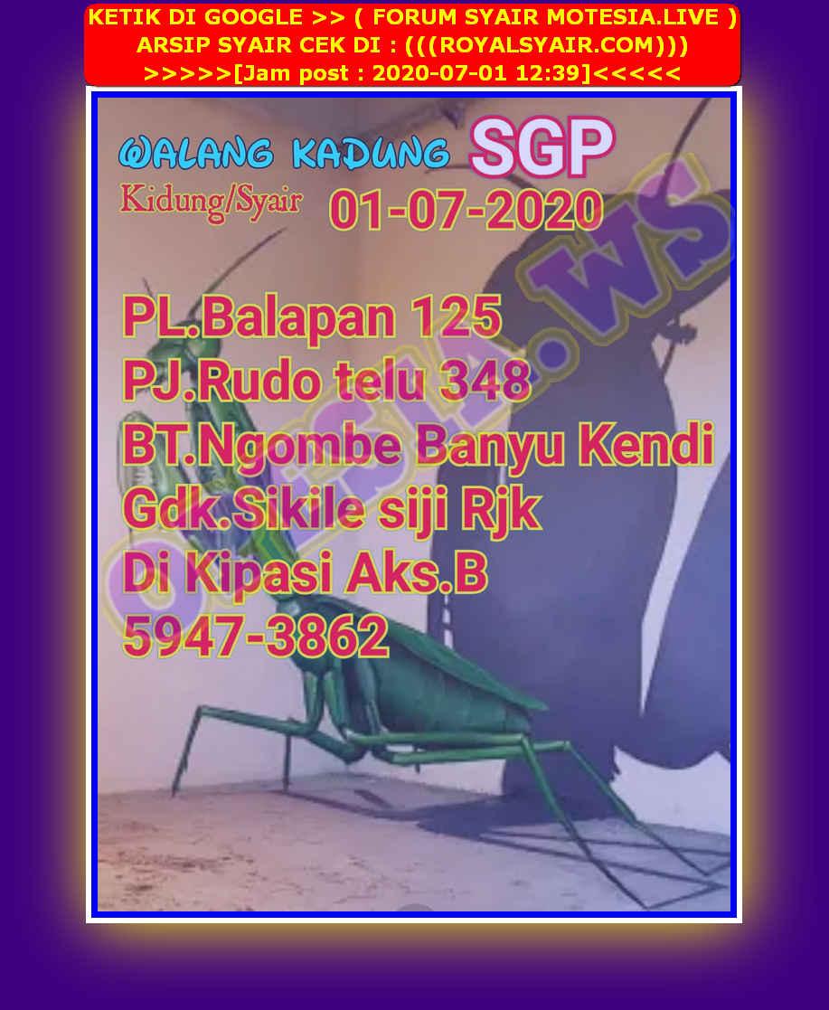 Kode syair Singapore Rabu 1 Juli 2020 33