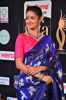 Shanvi Looks Super Cute in Pink Backless Choli Blue Saree at IIFA Utsavam Awards 2017 34.JPG