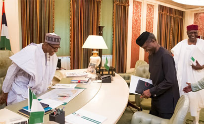 breaking news buhari resumes office receives briefing from